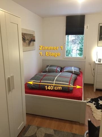 Zimmer 1 im 1. OG, mit WC und Dusche auf der Etage