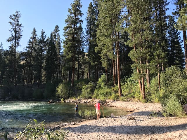 Small beach on South Fork, Payette River is within a few miles