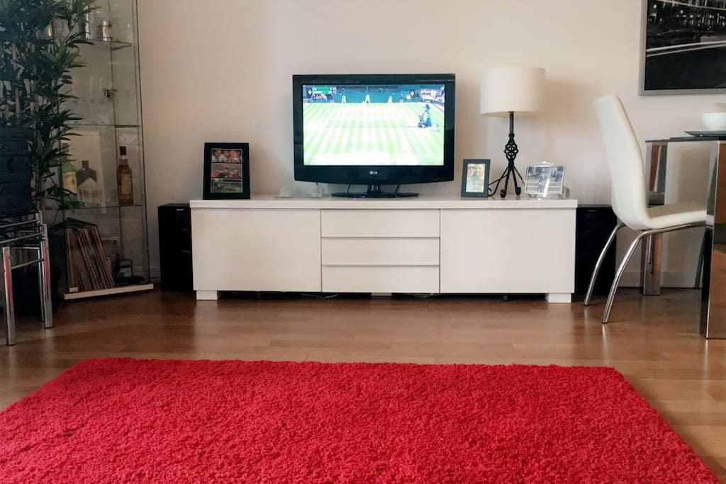 Flat screen and drinks cabinet