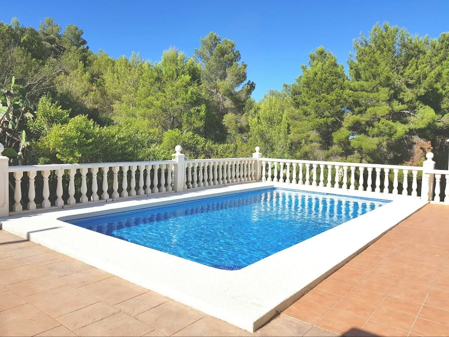 Terrace and Pool with mountain landscape, enjoy in privacy area. Barbacue available.