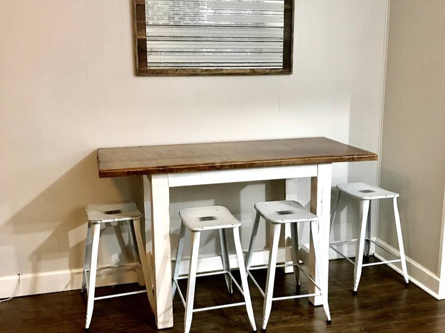 Hand made farm house style dining table with stools