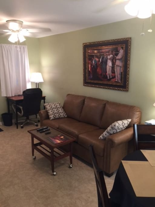 Living room: queen sofa sleeper with memory foam mattress, desk and office chair, 43inch smart tv, DVD player, wi-fi , dining area with 4 chairs