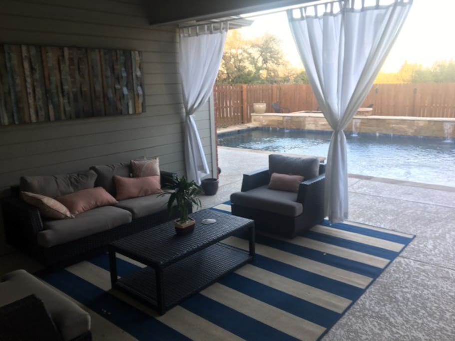 Back Patio with TV and Pool View