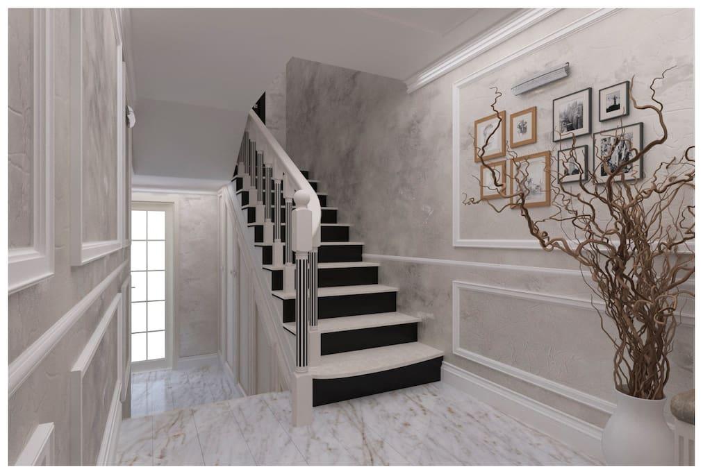 Прихожая -лестница на второй этаж