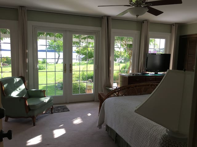 Master bedroom, bath and view