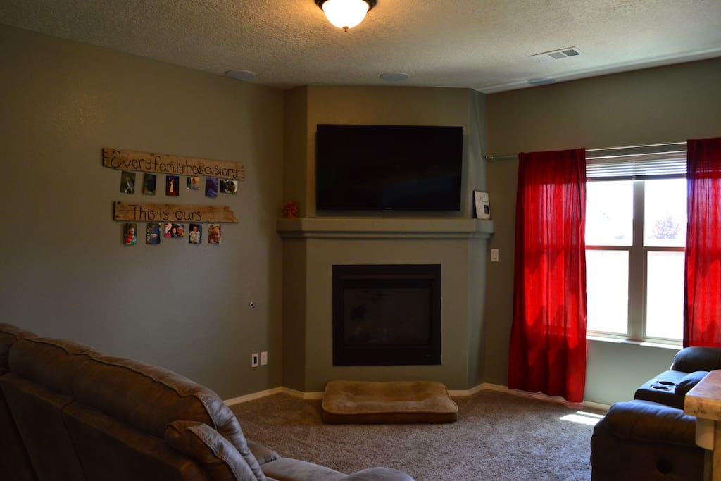 Living room , TV and gas fireplace