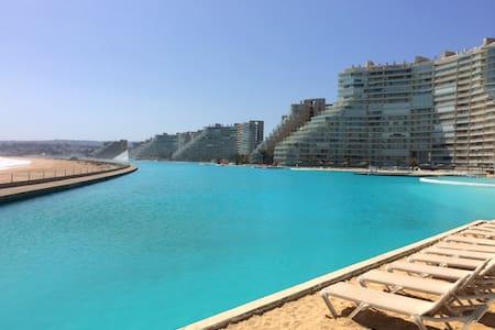 Depto c/piscina navegable +grande del mundo - Algarrobo Norte - Condomínio
