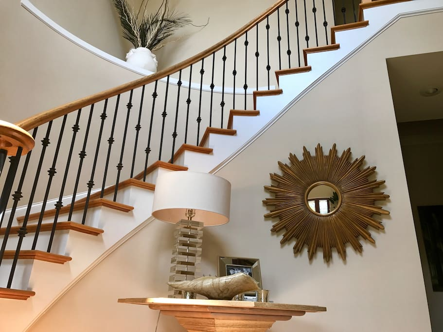 Enter entry hall and walk up stairs to your space