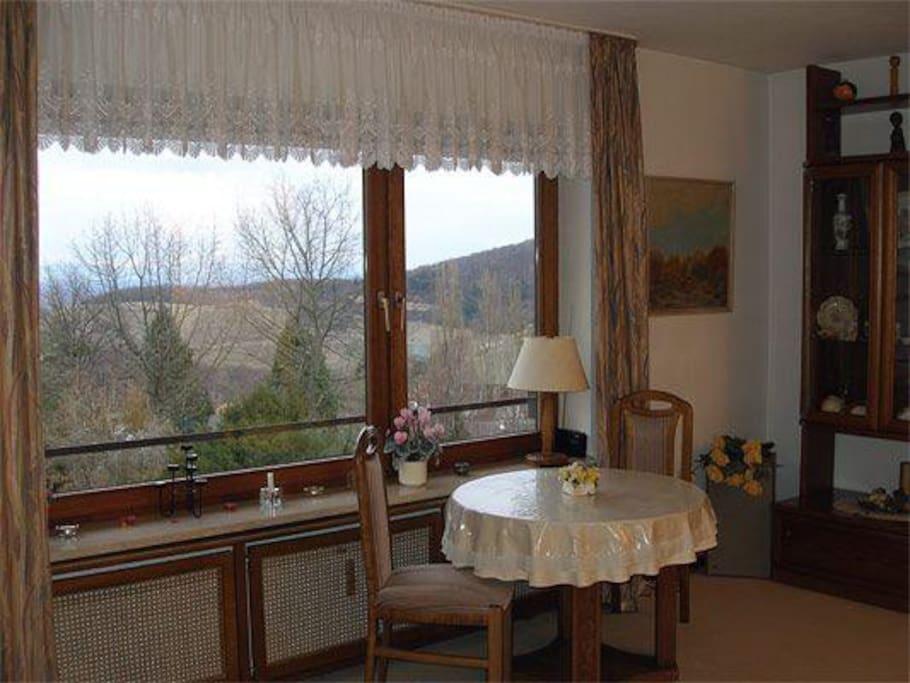 Blick vom Wohnzimmer Markgräfin auf Römerberg manchmal bis zu den Vogesen
