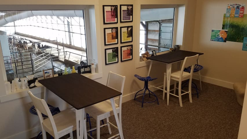Two tables in the loft are a great place to put together a puzzle, play a game, sip your coffee, or get some work done while cow gazing.
