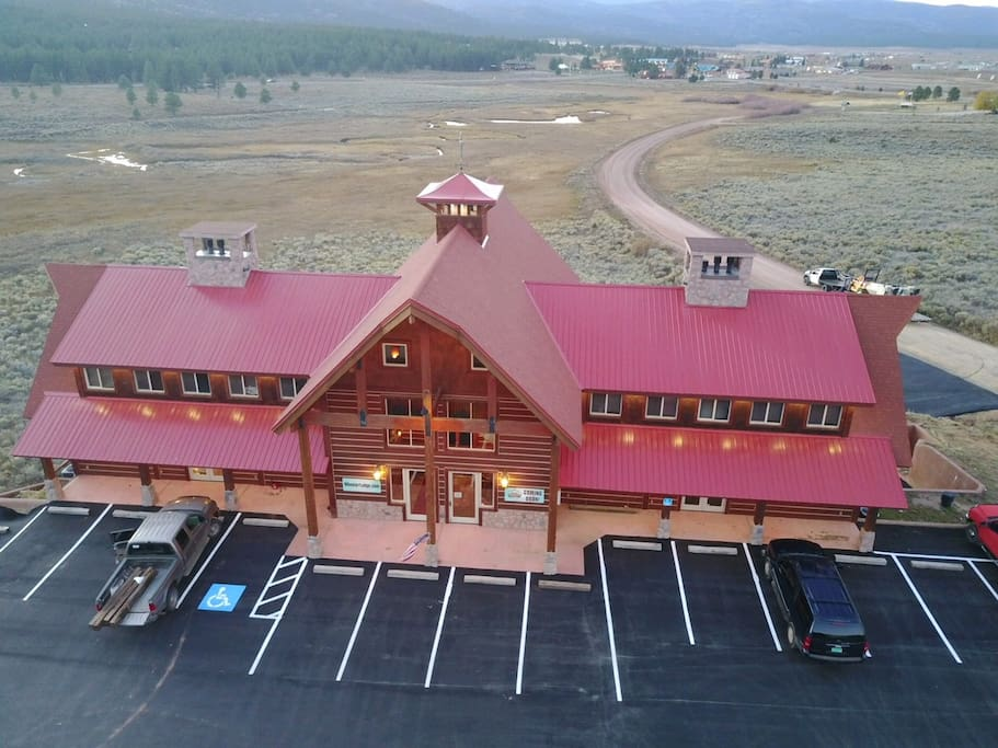 Lodge and hostel from the air out front