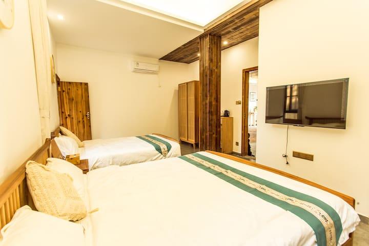南澳海印山房客栈—园景标准房,双床1.5米房