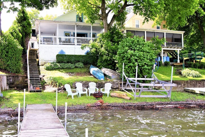Lakefront home on Keuka Lake w/ beach, dock & firepit - 2 dogs welcome!