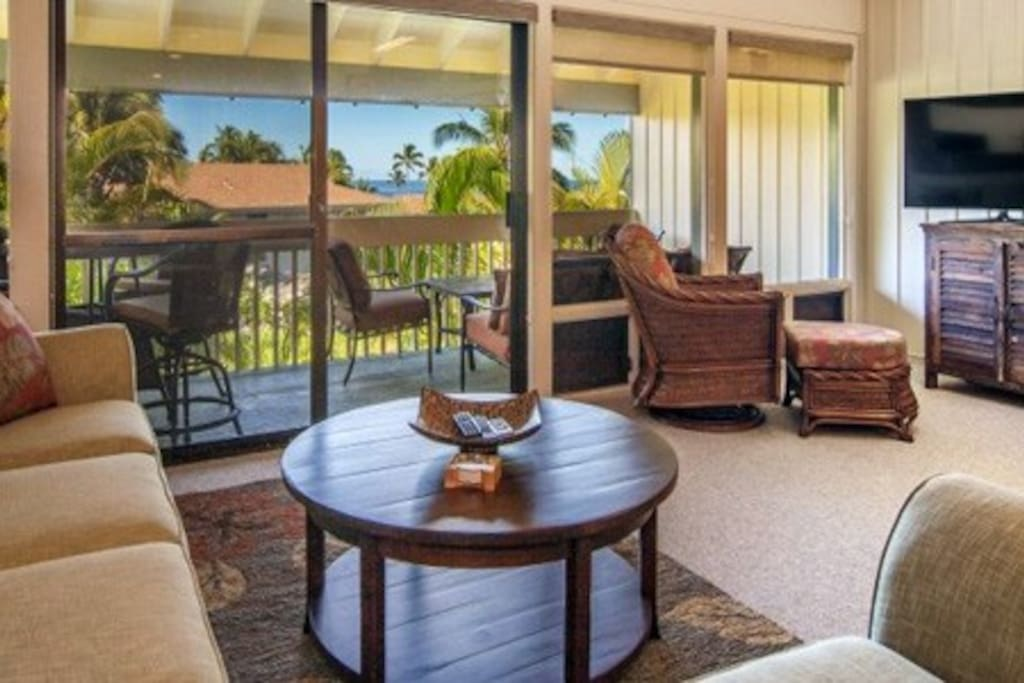 Living Room, Outside Lanai and a View of the Ocean