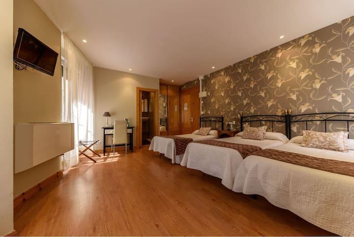 Habitación Cuádruple con tres camas y un sofa-cama