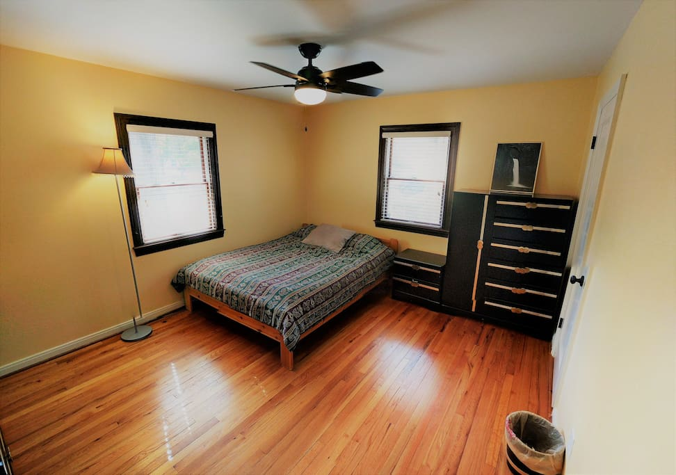 Spacious bedroom with ample closet space and storage, including a dresser (not in frame).