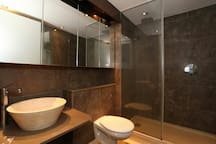 Rain forest shower and spa ambience with inbuilt sitting area and mood lighting