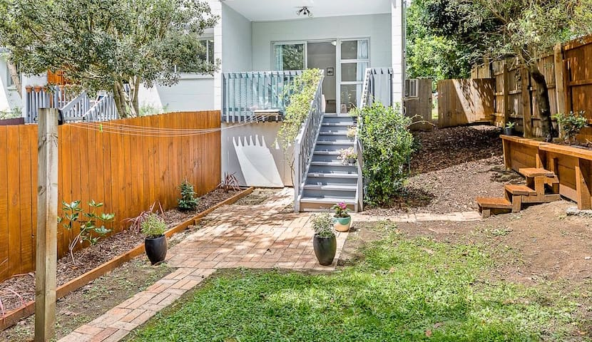 Private backyard and deck