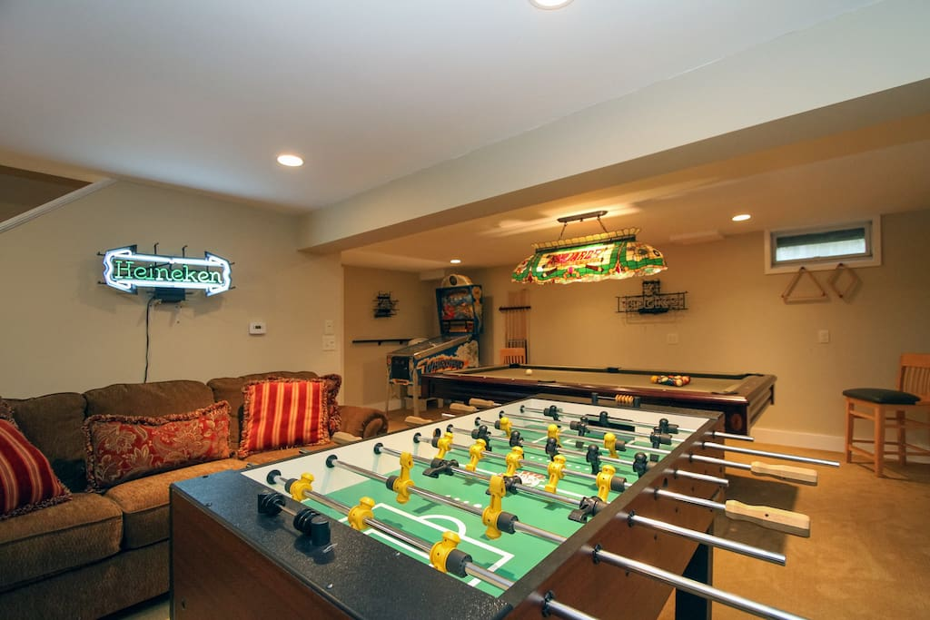 Spend quality time together in the family game room on the lower level floor.