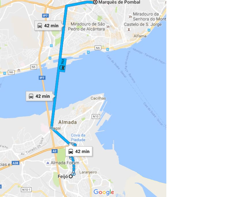 You also can get to Lisbon by public transportation, you have a direct bus to Marquês de Pombal, will take 40/50 minutes
