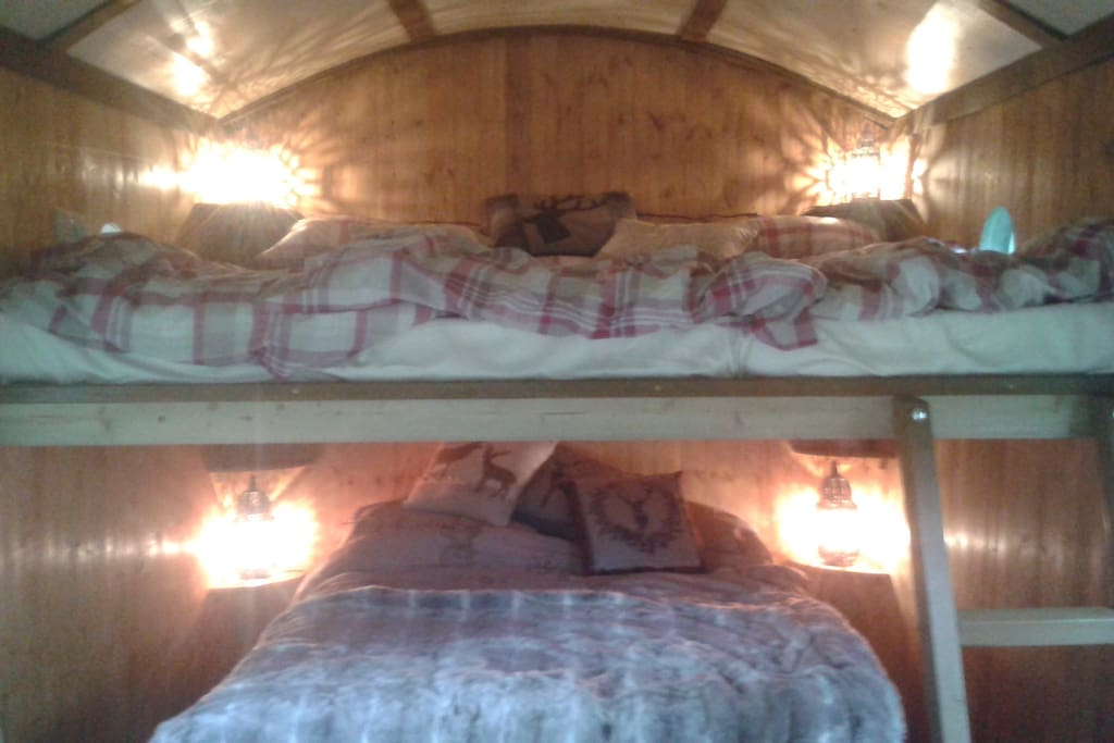 Upstairs and downstairs! Room for three on top and a double below