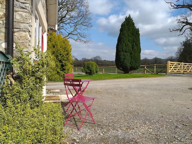 Outside seating area and views over the countryside