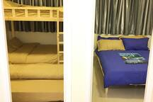Left Bedroom could stay upto 6 guests; Right Bedroom Double Bedding is provided. 2 rooms serve upto 8 guests. 其中两间睡房最多可睡8人,左边上下床及拖床最多可住6人,右边房附有舒适双人大床,可左右边上床。