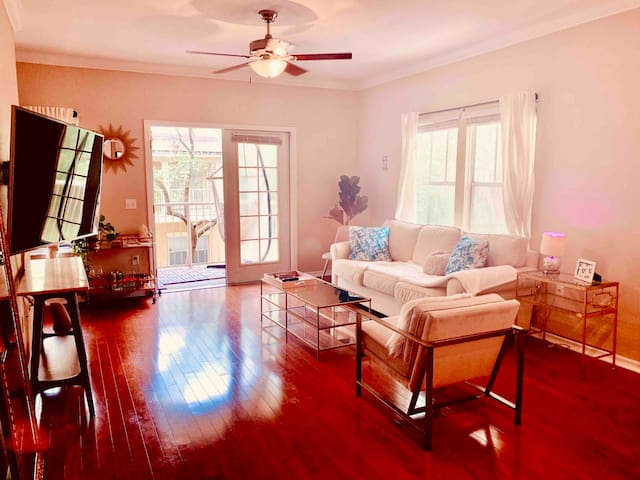 Sun soaked living room - make yourself at home in this glamorous sunny haile village condo. Enjoy your coffee on the private balcony or enjoy the many activities that Haile Village Center offers like the Sat morning farmers market & many restaurants.