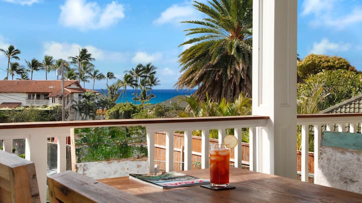 OCEAN VIEW WITH AC AND STEPS FROM POIPU BEACH!