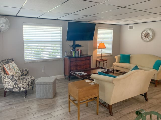 """50"""" TV with streaming blu-ray.  Beautifully furnished living area."""