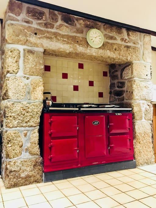 Large aga in farmhouse kitchen