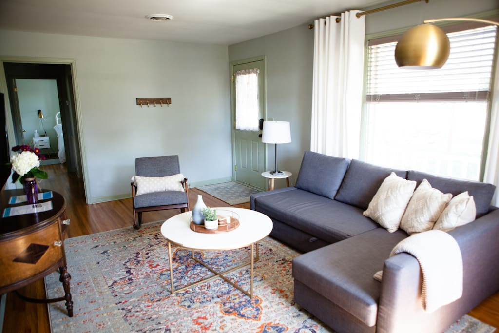 Double-sized sleeper sofa, so easy to pull in and out for an extra 1-2 guests