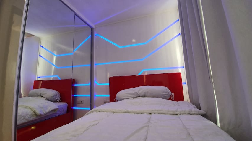 Second Bedroom equipped with large closet and aircon. Bed is always cleaned with dust mite vacuum cleaner and bed cover set is dry cleaned.