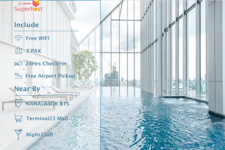 Free Airport Pick-up/400M from BTS NANA/Terminal21