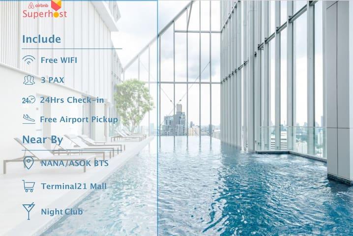 Free Airport Pickup/400M from BTS NANA/Terminal21