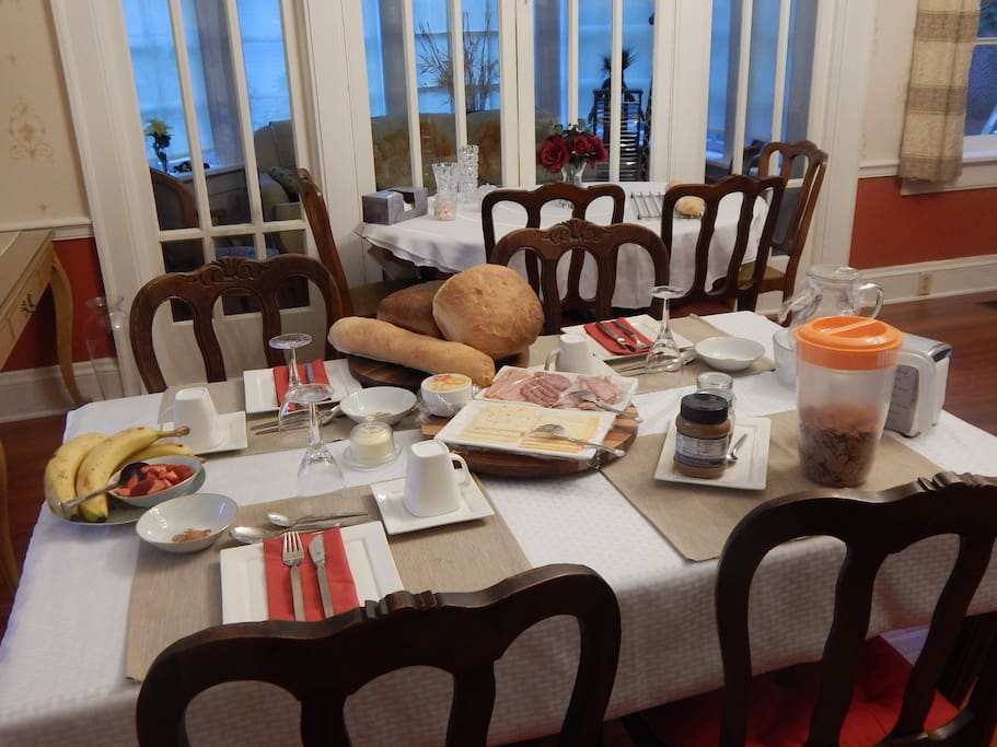 breakfast with home made bread, meat & cheese, cereals, fruit,yoghurt, orange juice, real good coffee and tea