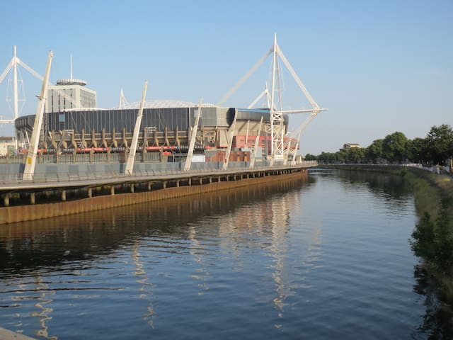 Stadium & Cardiff Central station accessed by a short 10 minute riverside walk.
