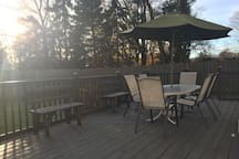 Backyard Deck, we have a space for BBQ pit and outdoor gatherings during the summer