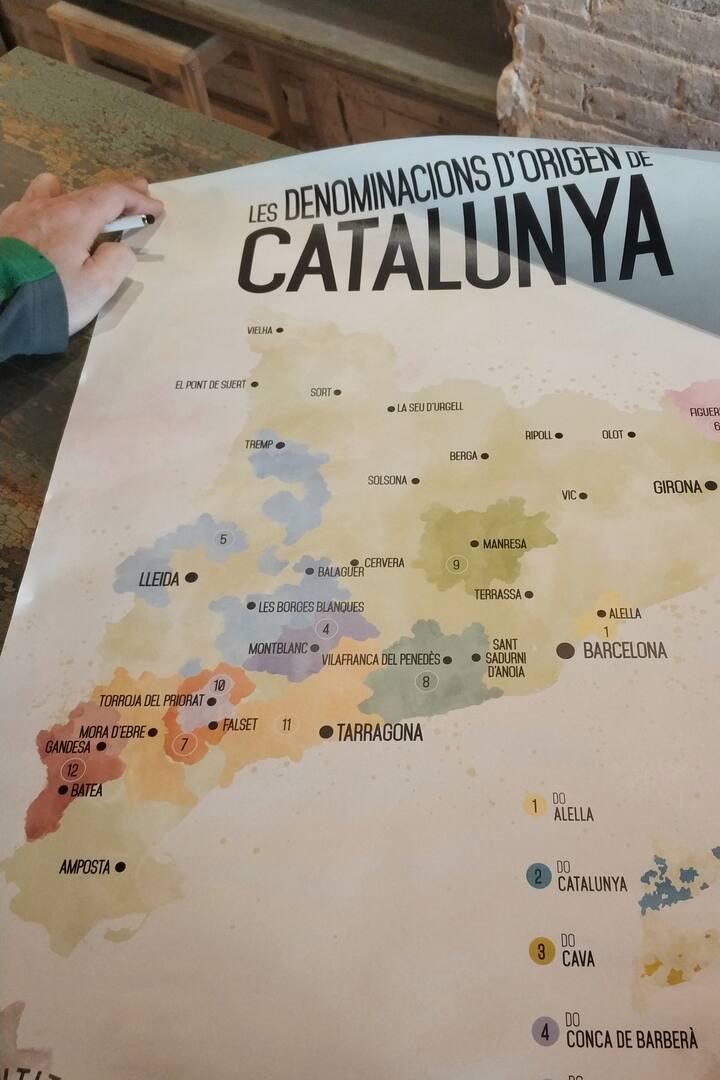 Mapa de Producción de Vinos en Catalunya