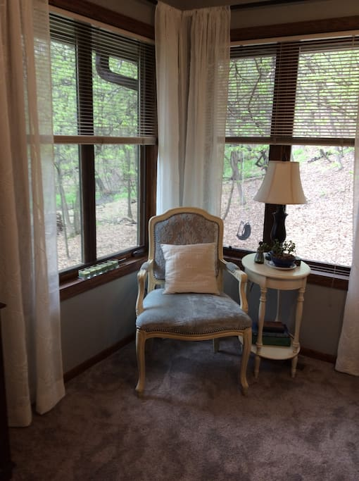 Enjoy the views of our wooded retreat.
