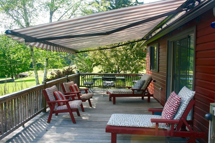 Here's the deck with the retractable, remote-controlled awning