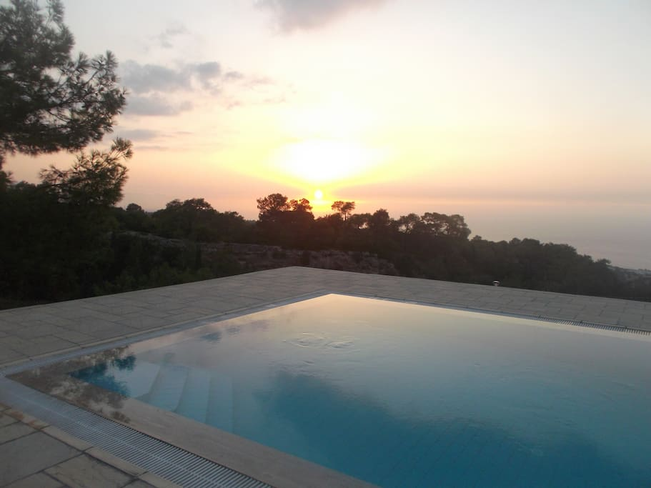 Sunset over the Sea, pool side.