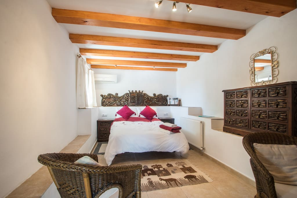 Spanish bedroom has a double bed