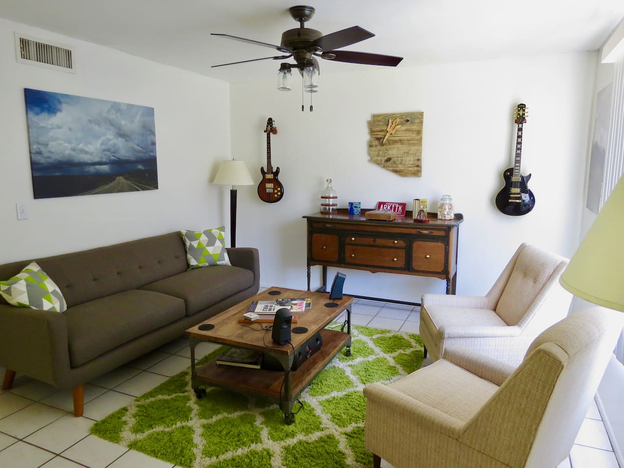 Photo 1:  Mid-century modern living room.  Comfortable?  Yes.