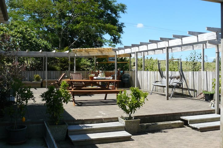 Outdoor area with seating or resting spots.