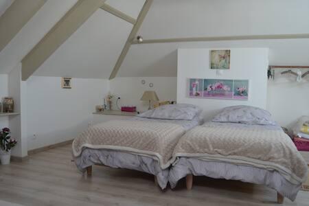 Chambre 2p. 1 enfant, sdb wc cuisine privés/jardin