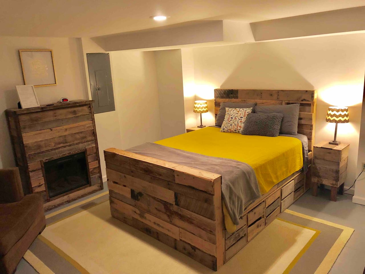 Bed Room 1: Queen Bed and Electric Fireplace
