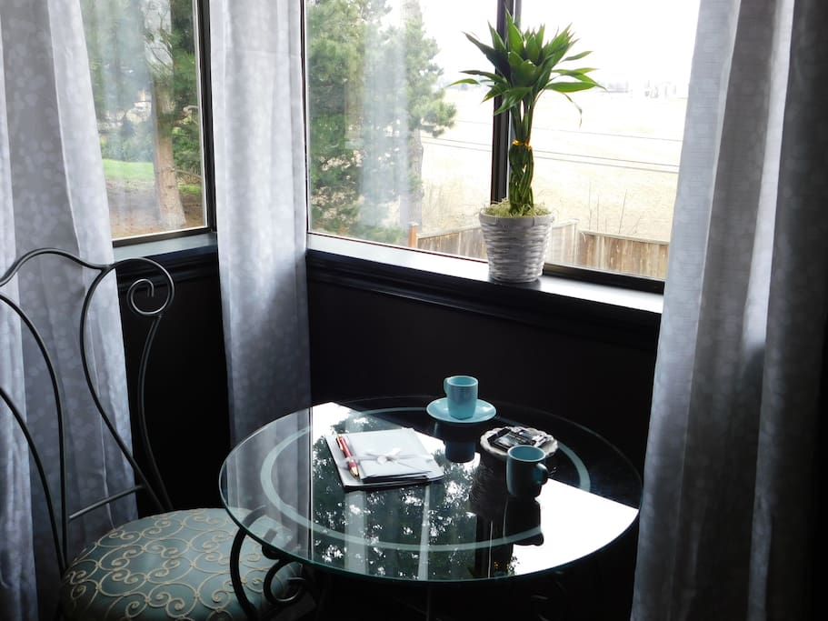 Enjoy watching the sun rise across the Skagit Valley while enjoying a cup of coffee in your room.