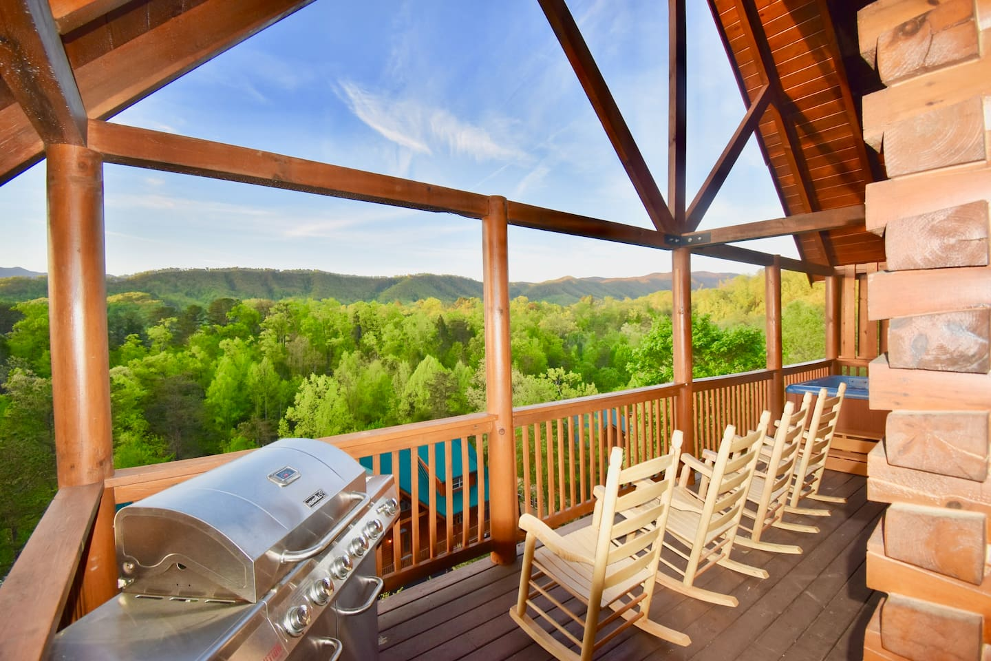 This is the view from the back deck overlooking stunning Mt Leconte.Relax in the hot tub or barbecue with family and friends while gazing over majestic mountains like no other