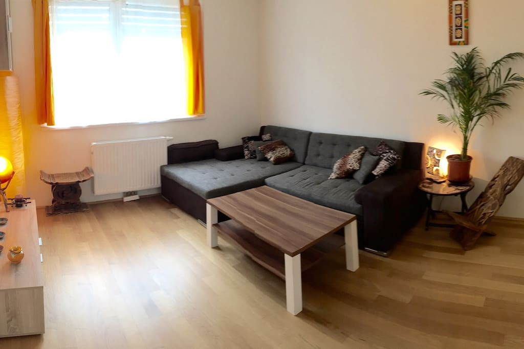 Living room with extendable couch. Extends to a double bed size 140x200cm